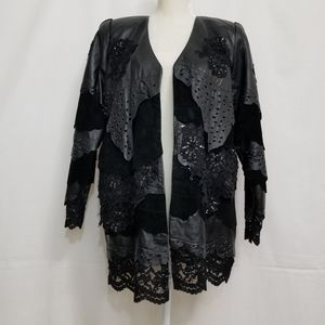 80s Porat Art Leather and Lace Jacket